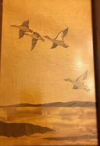 Inlay Wood Marquetry Duck Picture Ah Mcintosh Co Kirkcaldy Scotland 14 5 X10