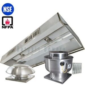 8 Ft Restaurant Commercial Kitchen Exhaust Hood With Make Up Air System