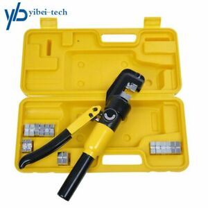Hydraulic Crimper Crimping Tool w 9 Dies Wire Battery Cable Lug Terminal 10 Ton