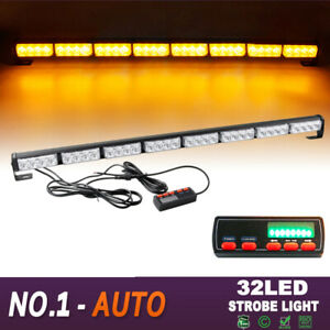 36 32 Led Flash Traffic Adviser Directional Arrow Strobe Light Bar Amber Yellow