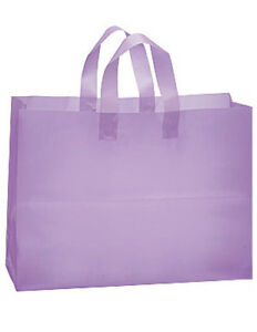 Lavender Frosted Plastic Large Shopping Bag 16 X 6 X 12 Inches Count Of 100