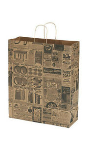 Jumbo Newsprint Paper Shopping Bags 16 X 6 X 9 Inches Count Of 25