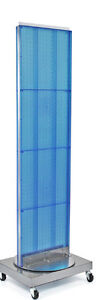 2 Sided Pegboard Floor Display In Blue 16w X 66h Inch With Revolving Base