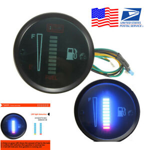2 52mm 12v Car Boat Motorcycle Fuel Level Meter Led Display Digital Gauge Usa