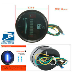 2 52mm Car Motorcycle 10led Fuel Level Meter Digital Gauge Car Styling Universal