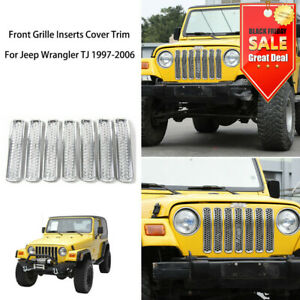 Chrome Front Mesh Grille Inserts Grill Trims Fit Jeep Wrangler Tj 1997 2006 Abs