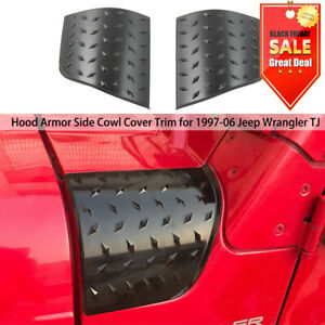 Hood Side Cowl Body Armor Cowl Cover Decoration Black For Tj Jeep Wrangler 97 06