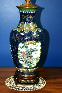 32 Pair Of Chinese Cloisonne Vase Lamps Asian Oriental Porcelain Japanese