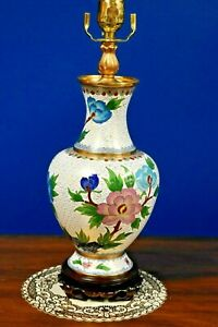 26 Pair Of Chinese Cloisonne Vase Lamps Asian Oriental Porcelain Japanese