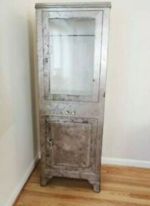 Vintage Steel Apothecary Medical Glass Door With Lights Cabinet