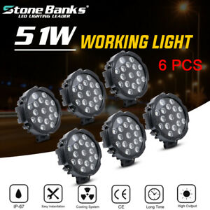 6pcs 7inch 51w Led Work Lights Offroad Bumper Fog Lamp Round Tractor Atv 4wd Suv