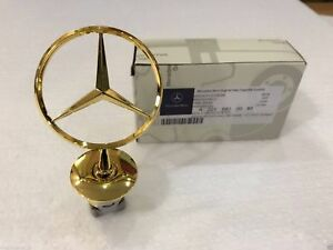 Genuine Gold Mercedes Star Hood Logo Chrome Emblem Badge W123 W126 W201