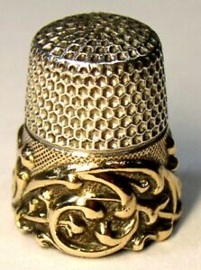 Antique Ketcham Mcdougall Gold Band Sterling Silver Thimble Scroll C1920s
