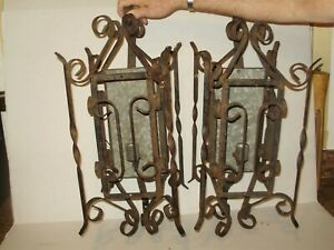 Antique Spanish Revival Wrought Iron Wall Lights Fixture Indoor Out 1628