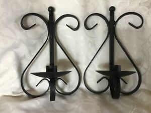 Pair Vintage Scrolled Black Wrought Iron Wall Sconce Candle Holders