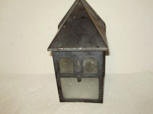 Vintage Mission Style Metal Outdoor Wall Light Fixture Textured Glass 1630