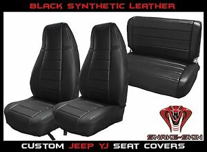 Jeep Wrangler Yj Black Custom Seat Covers Front Rear Syn Leather Perfect Fit