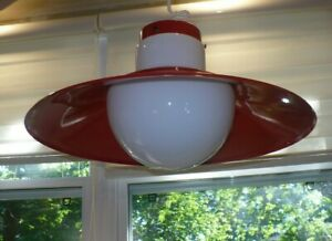 Vintage Lightolier Mid Century Modern Red Metal Cone Pendant Ceiling Lamp Light