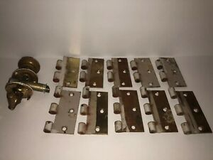 Architectural Salvage Lot Of Brass Door Hardware Hinges And Handle Vintage
