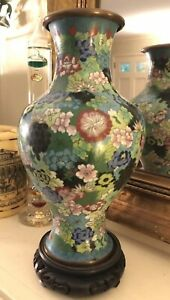 Antique Chinese Cloisonn Enamel Brass Multicolored Floral Vase With Stand 9