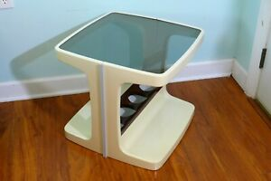 Mod Plastic End Table With Smoke Glass Top Vintage White Brown 1970s Space Age
