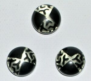 Vintage Set Of 3 Matching Glow Bubble Celluloid Buttons Black Silver Art Deco