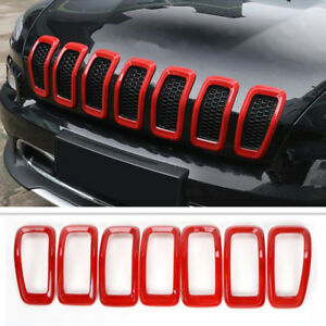 For 2014 2018 Jeep Cherokee Red Front Grille Inserts Mesh Trim Frame Accessories