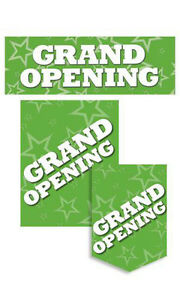 Grand Opening Sign Kit Green Single Sided Glossy Paper 11 Pieces