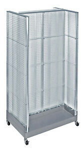 Clear Neon Plastic Pegboard Floor Display H Unit On Wheeled Base 36 w X 66 H