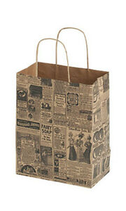 Newsprint Paper Medium Shopping Bag 8 X 5 X 10 Inches Count Of 25