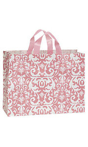 Pink Damask Frosted Plastic Large Shopping Bag 16 X 6 X 12 Inches Count Of 25