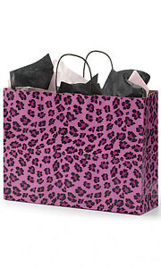 Pink Leopard Print Paper Large Shopping Bag 16 X 6 X 12 Inches Count Of 100