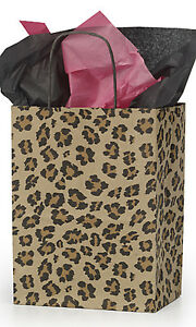Leopard Brown Paper Medium Shopping Bag 8 X 4 x 10 Inches Count Of 100