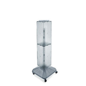 Clear 4 sided Pegboard Display On Revolving Wheeled Base 8w X 40h Inches