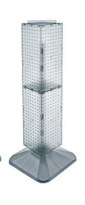 Clear 4 sided Pegboard Display On Revolving Base 8w X 40h Inches