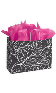 Elegant Swirl Paper Large Shopping Bag 16 X 6 X 12 Inches Case Of 25