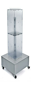 Clear 4 sided Pegboard Display On Wheeled Metal Base 8w X 40h Inches
