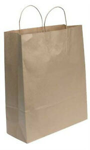 Jumbo Paper Shopping Bags In Natural Finish 16 W X 6 D X19 H Inches 200 Bags