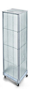 Clear Pegboard Floor Display Square Tower W Wheels 16w X 60h