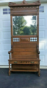 Antique Victorian Hall Tree C1890 1910ish Solid Oak W Beveled Glass Mirror