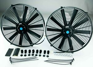 2x Radiator Cooling Fan 14 Inch Push pull Universal Straight With Fittings