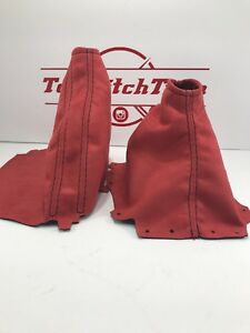 Fits 2015 18 Subaru Impreza Wrx Shift Boot And Brake Boot Red Suede