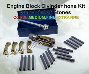 Motorcycle Atv Small Block Cylinder Hone Kit 34 Mm To 60 Mm 4 Sets Stones