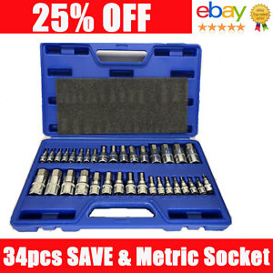 Master Hex Allen Wrench Socket Set Driver Bit Key Sae Metric 1 4 3 8 1 2 34pc