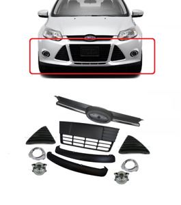 2012 2013 2014 Ford Focus Complete Front Bumper Grill Cover Assembly Fog Lights