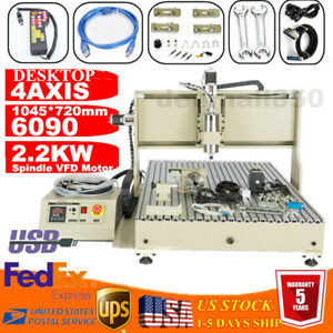 Engraver 4 Axis Cnc6090 Router Usb Carving Drilling Machine 2 2kw Vfd Handwheel