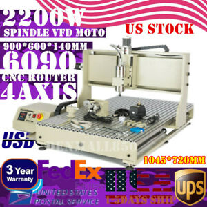 Cnc 4axis 2 2kw Vfd 6090 Usb Router Milling Engraving Diy Cnc Cutting Machine Us