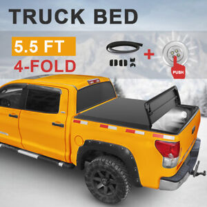 5 5 Feet Tonneau Cover For 2009 14 Ford F150 4 Fold Truck Bed W Led Strip