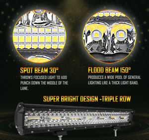 Autofeel 12 Inch Suv Off Road White Amber Dual Color Car Led Work Light Bar 10