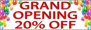 Grand Opening 20 Off Banner Size Options Store Opening Sale Indoor Outdoor